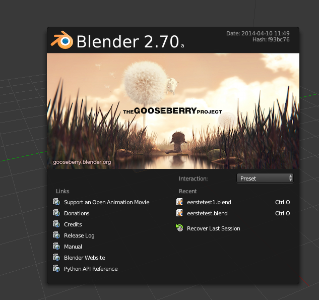 blender 2.70a openingsscherm